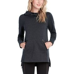 Lolë - Gali Pullover Tunic Hoodie - Women's - Black Heather
