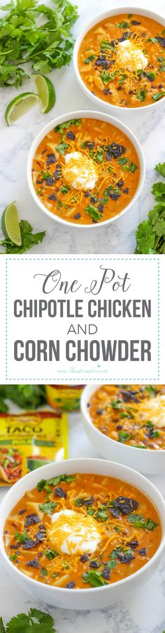 One Pot Chipotle Chicken and Corn Chowder ...a delicious and easy Mexican chowder recipe full of flavorful ingredients and is bold and spicy.