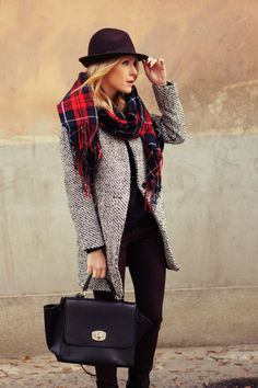 Chevron tweed outerwear, plaid scarf, black leather pocketbook