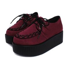 e351be8cc Women's Creepers Platform Flats Shoes Exquisite Knot Thick Hot Cake Wedges  Cross-tied Lace-up Velvet Wine Red/Black