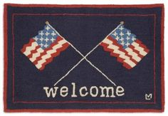 Welcome your guests into your home, cabin or lodge with this patriotic flag rug, perfect for Veteran's Day, Memorial Day, July 4th or any day throughout the year. Designed by famed Vermont folk artist