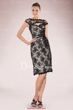 488c6c7b4be Chic Short Sheath Lace Mother of Bride Dress Enhanced with Keyhole Neckline  and Back Best Cocktail