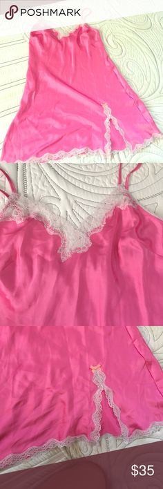 Victoria's Secret Silk Sexy Lacey Camisole Sleep Victoria's Secret Silk Sexy Lacey Camisole Sleep Dress. Beautiful Lace Design and Comfortable Material. Size Small in Bright Pink. Never Worn. Victoria's Secret Intimates & Sleepwear Chemises & Slips