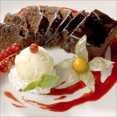 Chocolate cake and some ice cream ..