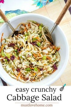 Crunchy Cabbage Salad with tangy dressing is a cool and crisp side to serve with any grilled meats and burgers. A barbecue must-have! #mustlovehomecooking Cabbage Salad Recipes, Side Salad Recipes, Veggie Recipes, Beef Recipes, Veggie Food, Vegetarian Recipes, Cooking Recipes, Greek Quinoa Salad, Healthy Family Meals