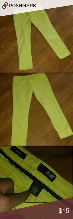 ??ANA Skinny Jeans ?? Light yellow. 99% Cotton 1% Spandex. Size 16. 33  Waist. Very good for spring and summer!!! I also have a lilac colored pair that I would LOVE to Bundle!! ANA Pants