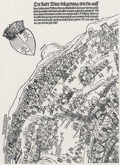 Publisher: Meldemann, Nikolaus, Title: »Der Meldeman-Plan« Belagerung der Stadt Wien, Detail [1/6], Date: 1529 Typography Prints, Planer, Medieval, History, Abstract, Knights, Illustration, Artwork, Cities