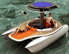 We've seen solar-powered boats, and we've also seen bicycle powered supercomputers, lawnmowers, water purifiers and blenders.  So wouldn't it make perfect sense to design a boat that has solar panels and enables passengers to power it by pedaling?