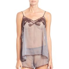 Josie Natori Sheer Lace-Trim Camisole (£240) ❤ liked on Polyvore featuring intimates, camis, apparel & accessories, dark grey, v neck cami, lace trim cami, lace trim camisole, v neck camisole and josie natori