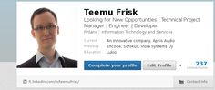 Löydät asiallista tietoa urastani LinkedIn-profiilistani.