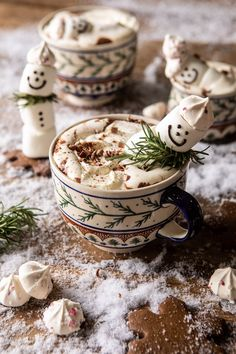 Creamy Coconut Hot Chocolate complete with snowman marshmallows, because.'tis the season! The coziest mug of hot cocoa.for your Black Friday lounging! Coconut Hot Chocolate, Vegan Chocolate, Melting Chocolate, Chocolate Recipes, Christmas Drinks, Christmas Treats, Christmas Brunch, Holiday Cocktails, Christmas Wishes