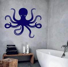 Wall Vinyl Decal Bathroom Decor Octopus Outline Marine Nautical Modern Decor for Living Room ( Modern Wall Decals, Vinyl Wall Decals, Octopus Outline, Beach Crafts, Fabric Wallpaper, Modern Decor, Wall Murals, Living Room Decor, Art Projects
