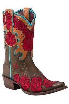 Ariat Quincy Ladies Brown Rodeo Rosita Embroidered Roses Snip Toe Western Boot