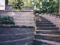 Retaining Wall w/ Stairs Front Steps, Yahoo Images, Image Search, Beautiful Places, Sidewalk, Stairs, Yard, Landscape, Plants