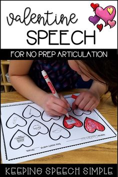 Click here for no prep articulation worksheets for your preschool and early elementary students. These fun, Valentine themed worksheets will motivate your students to practice their speech sounds. Use with crayons, markers or ink daubers! Most sounds include all three word positions. Perfect for mixed therapy groups, home reinforcement and RtI. Just print and go!