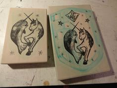 work in progress, commissioned piece with unicorn and narwhal...