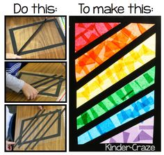 """Instructions for making """"stained glass"""" rainbows with tissue paper. Instructions for making """"stained glass"""" rainbows from tissue paper. Making Stained Glass, Stained Glass Crafts, Kindergarten Art, Preschool Art, Rainbow Crafts Preschool, Classe D'art, Tissue Paper Art, Suncatcher, Ecole Art"""