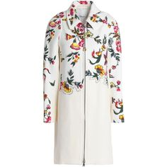 3.1 PHILLIP LIM   Studded floral-print cotton-blend coat (1,775 PEN) ❤ liked on Polyvore featuring outerwear, coats, white coat, floral print coats, zipper coat, floral coats and embroidered white coat