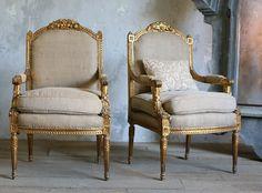 Pair Vintage Ornate Shabby Gilt Upholstered Chairs