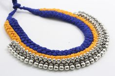 Yellow Blue Thread Cord Tribal Necklace