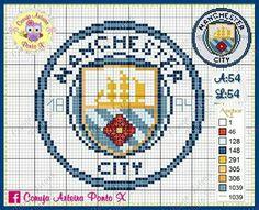 Hama Beads Design, Hama Beads Patterns, Beading Patterns, Knitting Patterns, Crochet Patterns, Man City Badge, Cross Stitch Designs, Cross Stitch Patterns, Manchester City Logo