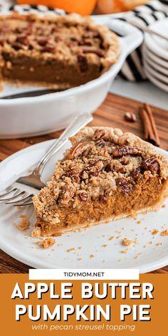 Apple Butter Pumpkin Pie Recipe, Apple Pecan Pie, Pumpkin Pie Recipes, Tart Recipes, Apple Recipes, Pumpkin Bread, Fall Dessert Recipes, Delicious Desserts, Fun Easy Recipes