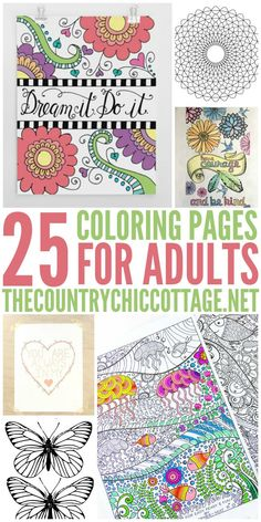 Get 25 FREE coloring pages for adults that you can print from home!