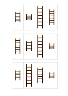 Ladders of different lengths. Children cut out the boxes which have each have a picture of ladder in them. Then they stick the ladders in order from the sh. Measurement Activities, Eyfs Activities, Infant Activities, Preschool Centers, Preschool Themes, Preschool Math, Maths Eyfs, Numeracy, Fireman Crafts
