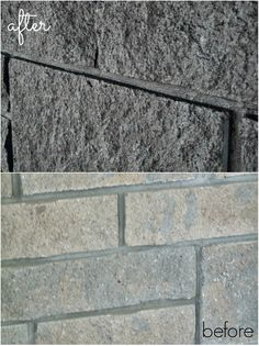 Excellent No Cost brick and Stone Fireplace Strategies How to Easily Paint a Stone Fireplace (Charcoal Grey Fireplace Makeover) Fireplace Facing, Slate Fireplace, Fireplace Update, Brick Fireplace Makeover, Rustic Fireplaces, Stone Fireplaces, Fireplace Ideas, Fireplace Mantles, Painted Stone Fireplace