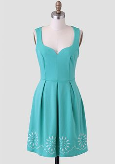 Make It Happen Embroidered Dress, seafoam greeb, box pleats, sweetheart princess neckline
