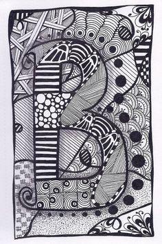 Zentangle+Letter+B+ZebrA+Letters+name+bunting+by+ForeverTangles,+£3.50