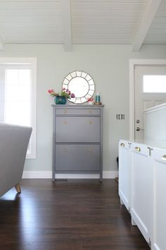 IHeart Organizing: One Room Challenge Week 3 - Painted Shoe Cabinet & Seating Update