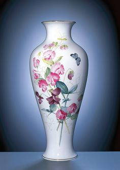 Vase, H 47,5 cm, Wicken naturalistisch, bunt, mit Schmetterling, blau, Goldrand