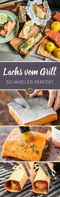 Dieser Guide zeigt dir, wie du dein Lachsfilet besonders saftig und aromatisch g… This guide will show you how to grill your salmon fillet in a particularly juicy and aromatic way. For this I have tested 5 different grill methods for you. Shrimp Recipes, Salmon Recipes, Pork Recipes, Shellfish Recipes, Healthy Eating Tips, Healthy Recipes, Grilling Recipes, Cooking Recipes, Grilled Salmon