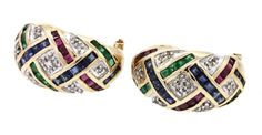 14K 2-tone gold 2.96CTW diamond ruby emerald & Blue sapphire cluster earrings #Cluster