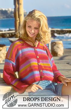 DROPS 41-13 - Jacket in Muskat with stripes - Free pattern by DROPS Design