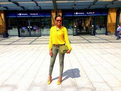 Clean cut gout chic in Mustard H&M blouse, Paige denim, Topshop t-bar shoes & Fendi mama bag