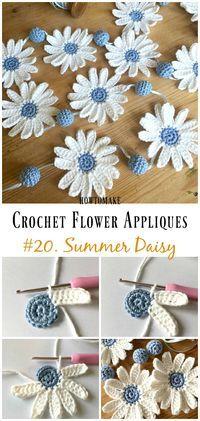 Summer Daisy Flower Free Crochet Pattern -Easy #Crochet #Flower Appliques Free Patterns