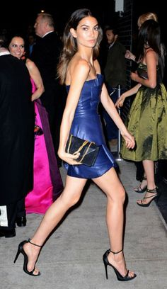 Victoria's Secret model Lily Aldridge was all legs in a strapless blue leather mini at the Met Gala after party