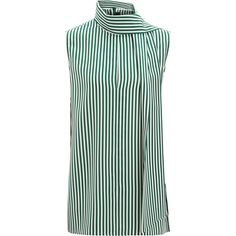 Joseph Deck Chair Stripe Silk Noon Blouse (1,320 PEN) ❤ liked on Polyvore featuring tops, blouses, emerald, silk sleeveless blouse, striped blouse, neck ties, green silk blouse and neck tie blouse