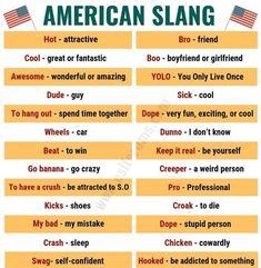American Slang: List of 25 Essential American Slang You Shouldn't Miss! Learn English Grammar, English Vocabulary Words, English Phrases, Learn English Words, English Lessons, English Idioms, English Writing, Learning English, American Slang Words
