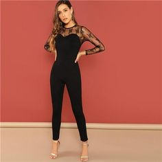 5518cd30b13 Solid Mesh Contrast Skinny Round Neck Long Sleeve Jumpsuit. Jumpsuits For  WomenBlack ...