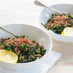 Ground #Beef with Kale - a meal you won't find featured in any fancy restaurants but it's super quick & delicious.