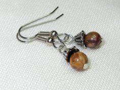 Rhyolite Earrings Stone Earrings Birdseye Rhyolite Pink by Thielen