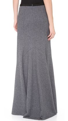 Wool maxi skirt.  Center back seam with invisible zipper, princess seams.  Gore inset for fuller hem.  Elastic waist.  See front view...