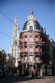 Nationalestraat and Cathedral - Antwerp, Belgium