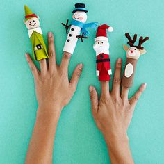 "After your kids make these holiday-inspired finger puppets, it may be hard to part with them!  What you'll need: Assorted colors of felt (red, black, white, brown, and beige), scissors, dime-size coin wrappers, quick-setting gel glue (such as Beacon's 3-in-1), 1?"" round natural wooden beads, fine-tipped marker; additional embellishments such as pipe cleaners, small buttons, and mini pom-poms  Make it: Cut a rectangle of felt large enough to cover the rounded coin wrapper; glue in place…"