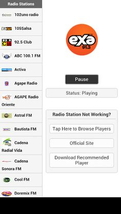 Listen to Ecuador radio online free (la radio salvadoreña). You can listen to these Ecuadorian radio stations in the background using this fm radio live streaming app.Note: Just install the recommended player or use other audio players If the default player doesn't support the streaming source.Listed below is the list of available Ecuador radio stations:102uno radio 105Salsa 92.5 Club ABC 100.1 FM Activa Agape Radio AGAPE Radio Oriente Astral FM Bautista FM