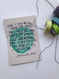 Hand Lettered Watercolor Scripture Art  Jeremiah 29:11 by BeanstalkLoft, $15.00    Bible verse art, Etsy shop, Shop small, Turquoise, 5x7
