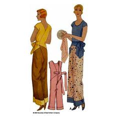 Vintage Dresses 1930 Kitchenette Pajamas Pattern: lounging pyjamas for a soft fabric. - One of our best selling patterns, this pajama could do for beach, lounging or house work. It's a wrap closure in back with ties belt. Moda Vintage, Vintage Mode, Vintage Style, Vintage Music, Vintage Ideas, Vintage Dress Patterns, Clothing Patterns, Style Patterns, Vogue Patterns